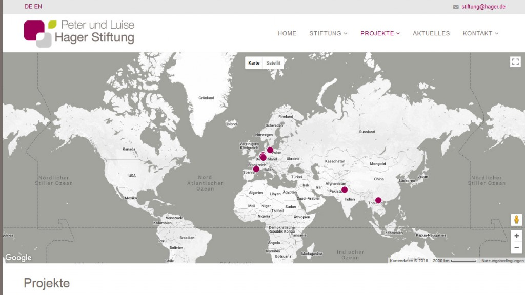 Screenshot Homepage Hager Stiftung