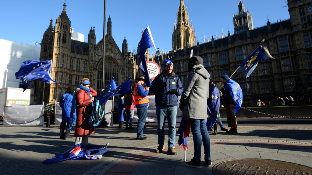 London: Anti-Brexit-Demonstranten vor dem Parlament in Westminster (dpa / AP Wire / Kirsty O'connor)