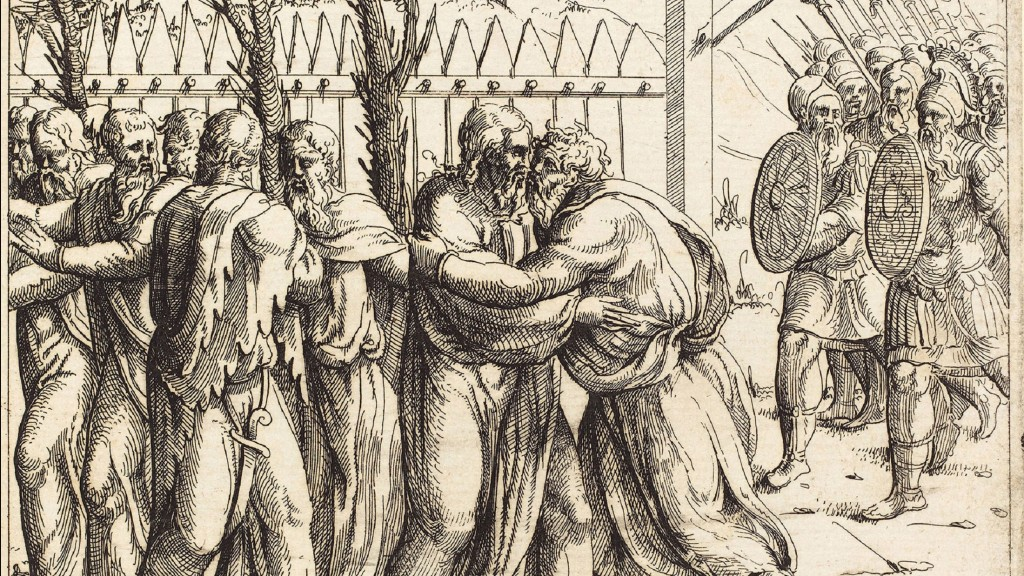 Ein Kunstwerk von Augustin Hirschvogel (German, 1503 - 1553), The Kiss of Judas, etching (Bildquelle: imago images / Artokoloro)