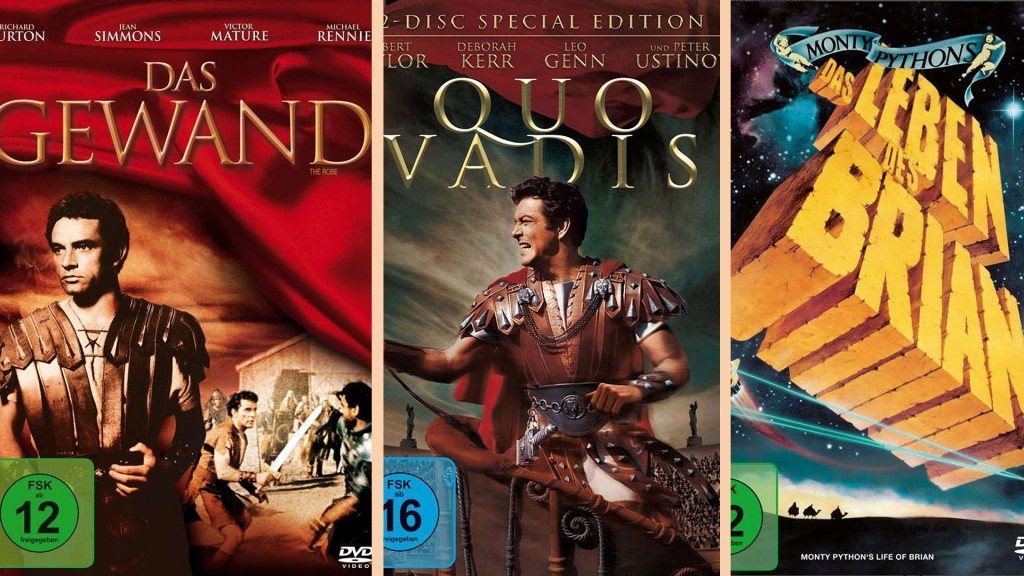 Das Gewand, Quo Vadis, Das Leben des Brian (20th Century Fox/Warner Home Video/Sony Pictures Home Entertainment)